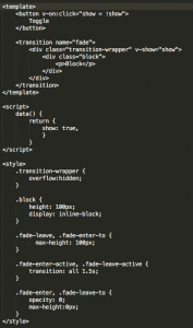 Single transition sample code