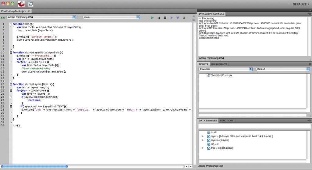De ExtendScript Toolkit, een IDE binnen Photoshop voor bijvoorbeeld javascript code