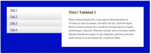 Let op het streepje tussen de actieve tab (Tab 1) en de content: niet mooi he?!