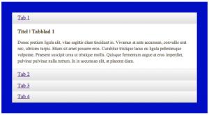 De tabs plugin op een smal scherm (< 672px).