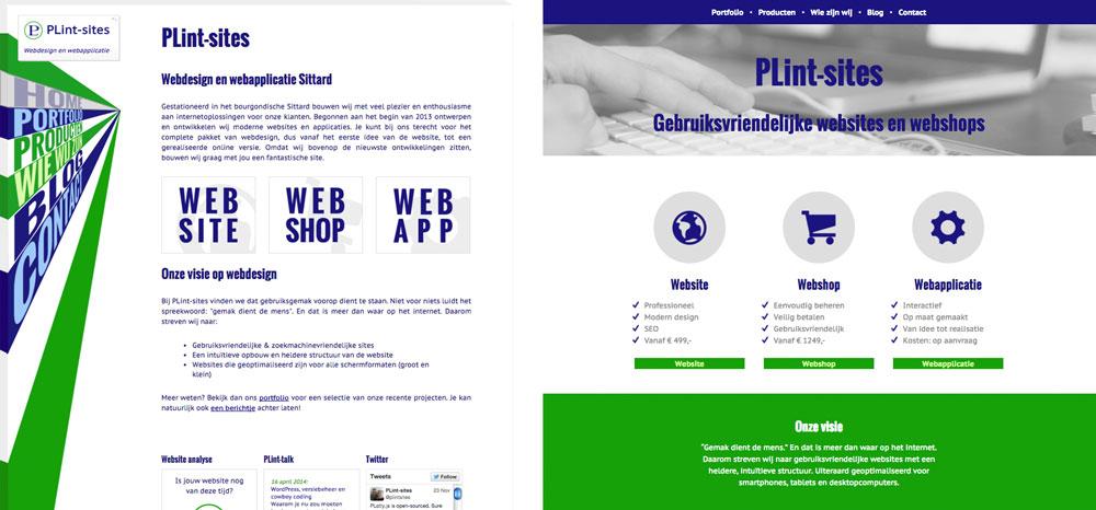 Het redesign van de website van PLint-sites: links de oude versie, rechts het nieuwe design