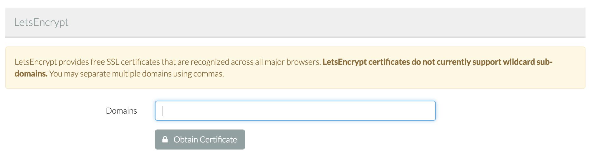 Free SSL certificate via Let's Encrypt