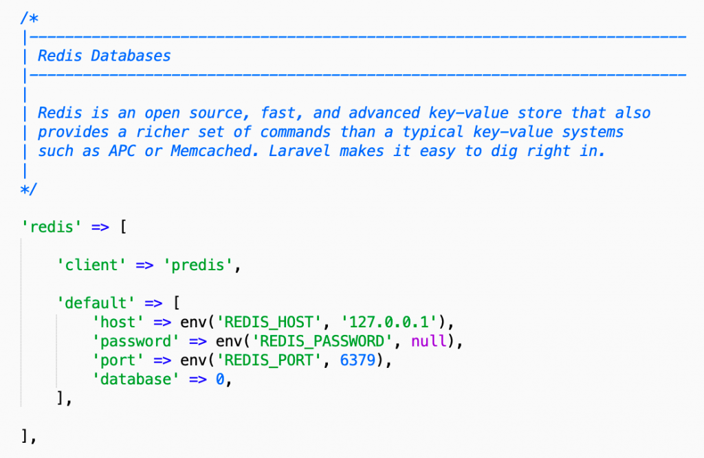 Laravel redis database connection